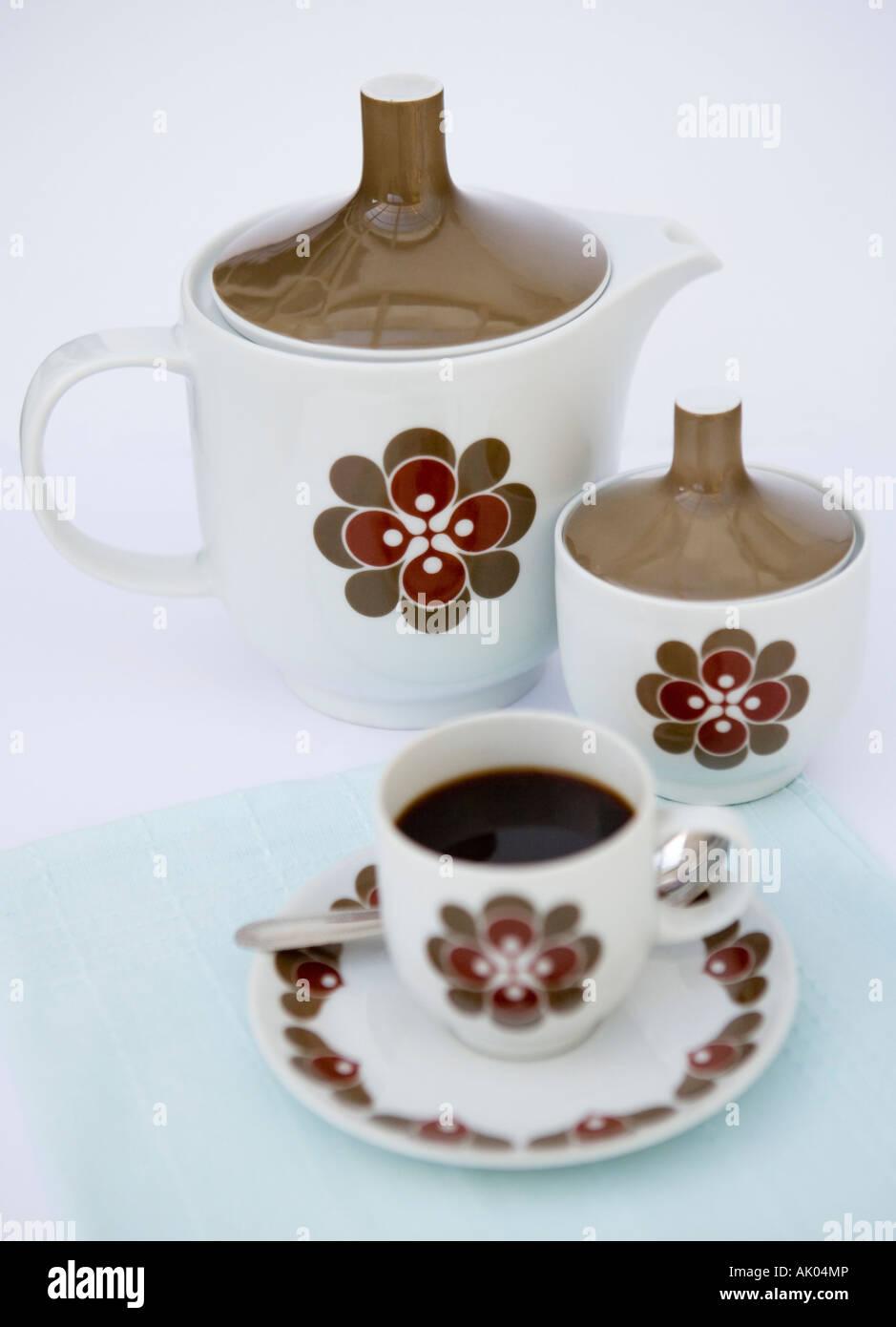 Retro conjunto de Café Imagens de Stock