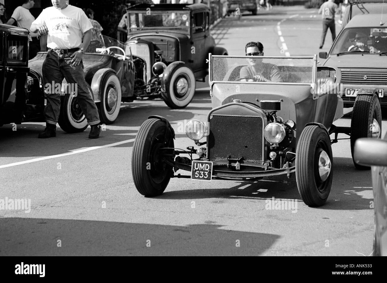 Roadster chega ao Hemsby rock n roll festival retro (1995) Imagens de Stock