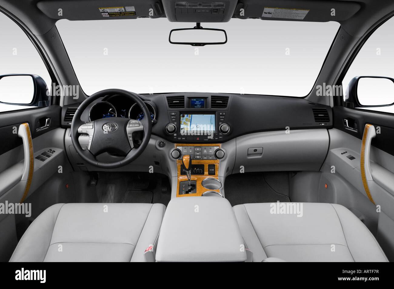 2008 Toyota Highlander Hybrid Limitado Em Azul   Painel De Bordo, Consola  Central, Vista De Mudança De Marchas