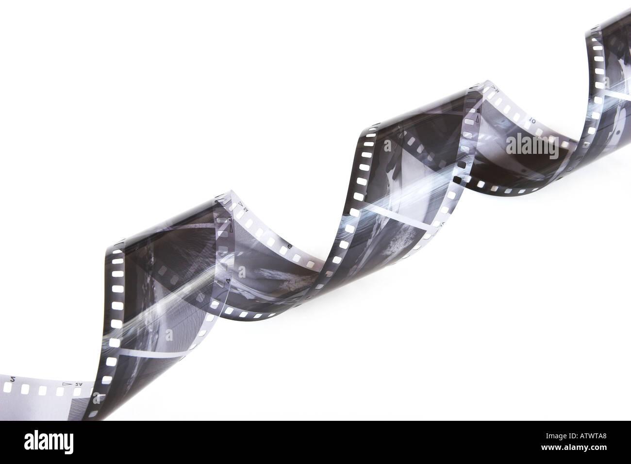 Enrolado negativos em preto e branco Imagens de Stock
