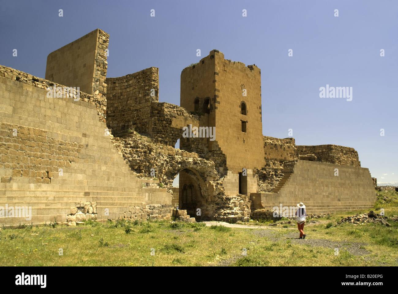 Permanece de Lion Gate no muro da cidade em Ani, arruinou a capital do Reino Arménio, no leste da Turquia fronteira Imagens de Stock