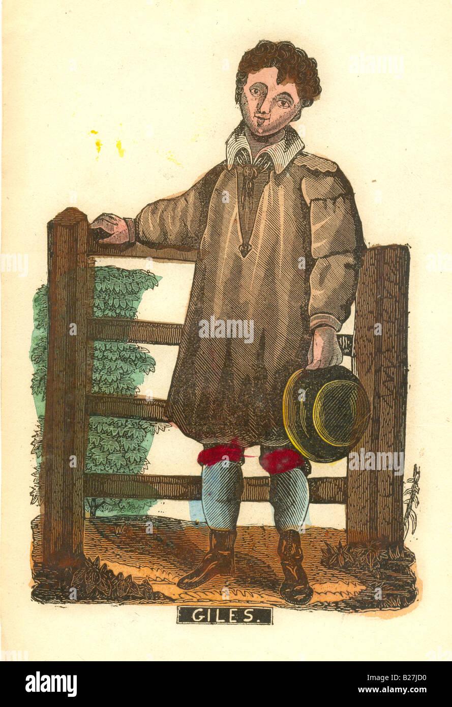 """Handcolored xilogravura de farm boy intitulada 'Giles"""" circa 1840 Imagens de Stock"""