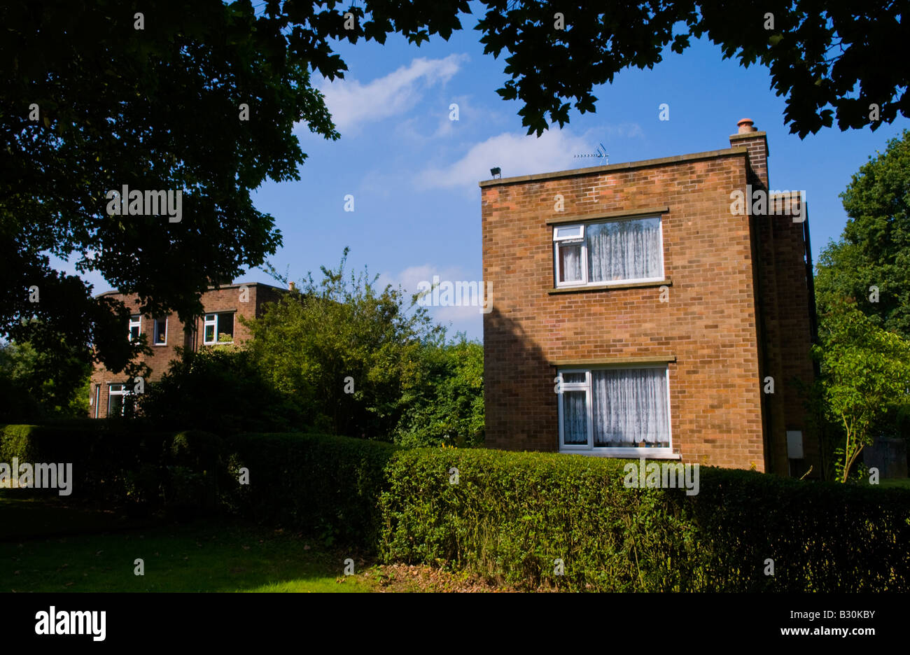 Casa geminada construído em 1940 no meio rural Rufford Nottinghamshire Inglaterra UK EU Imagens de Stock