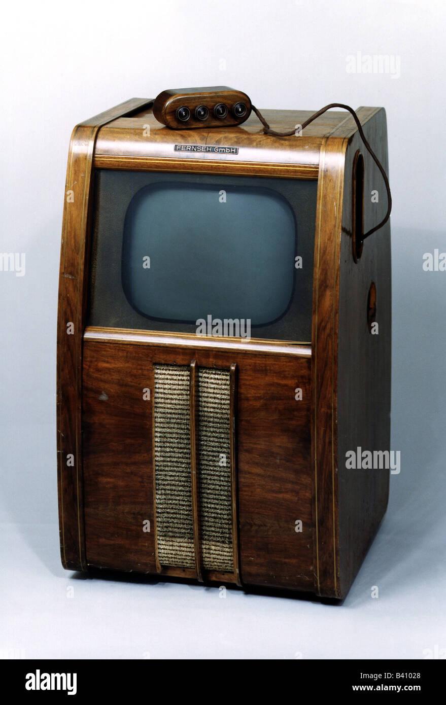 Difusão, televisão, TV, TV com controle remoto, Fernseh GmbH, Alemanha, 1951, Additional-Rights-folgas Imagens de Stock