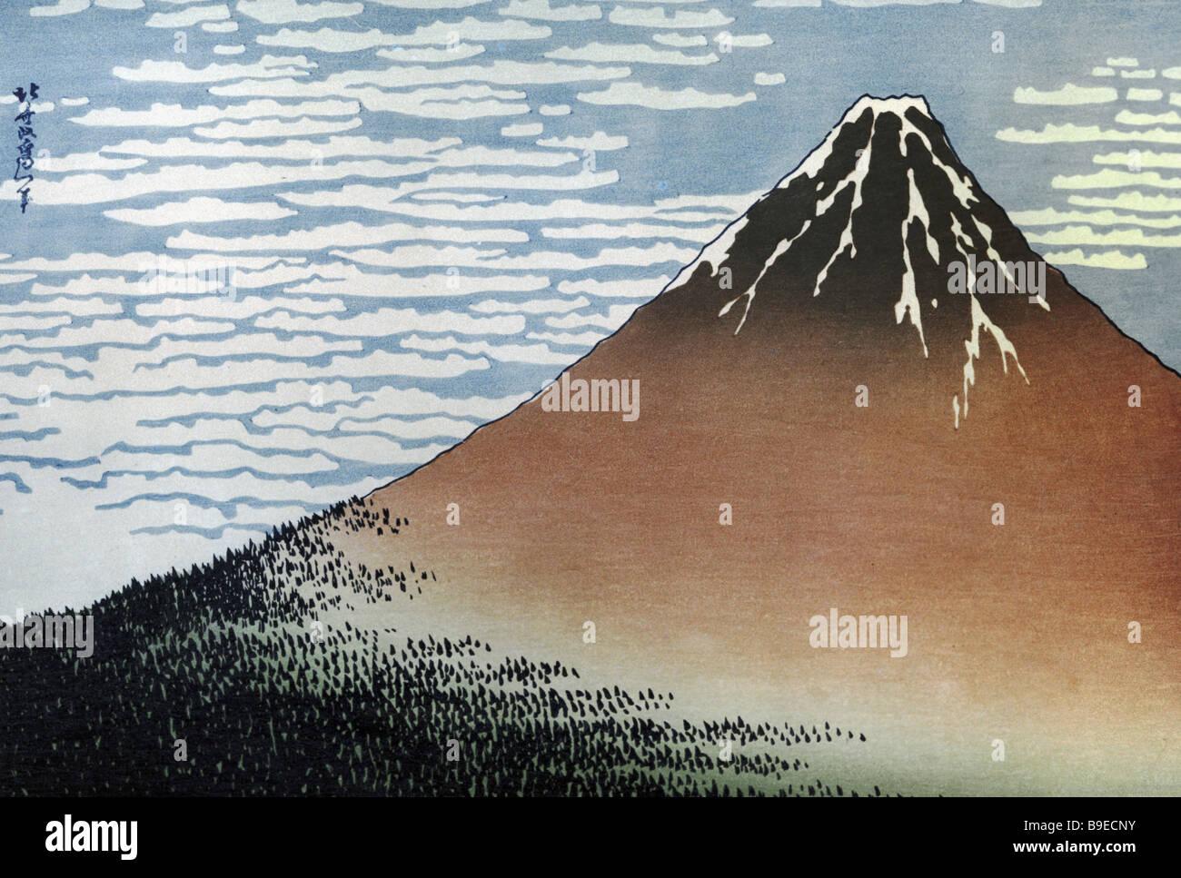 A Fuji Xilogravura por Hokusai século xix Museu de Arte Oriental Moscovo Imagens de Stock