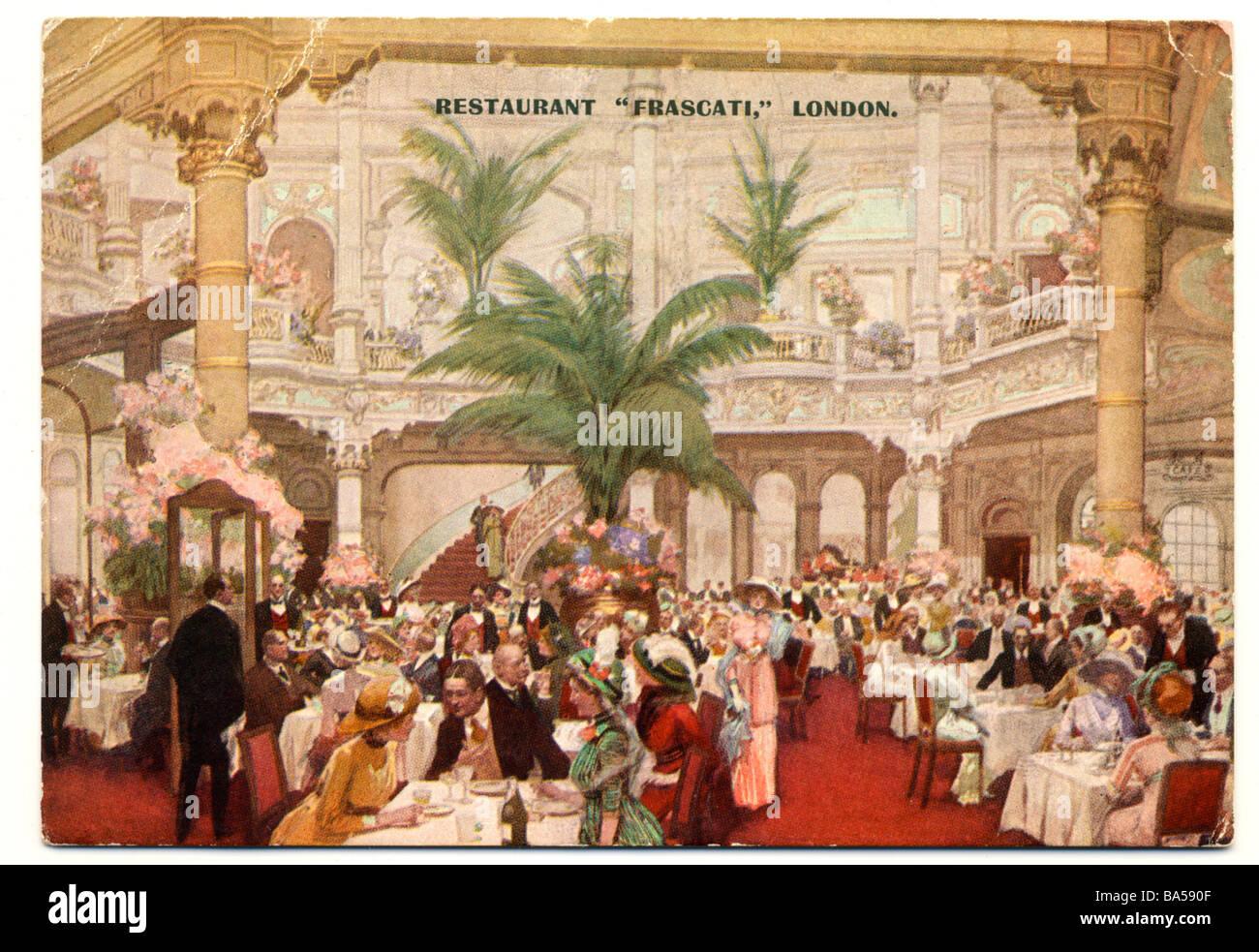 Cartão postal vitoriano antigo pintado à mão do Restaurante Frascati em Londres em 1895 Imagens de Stock