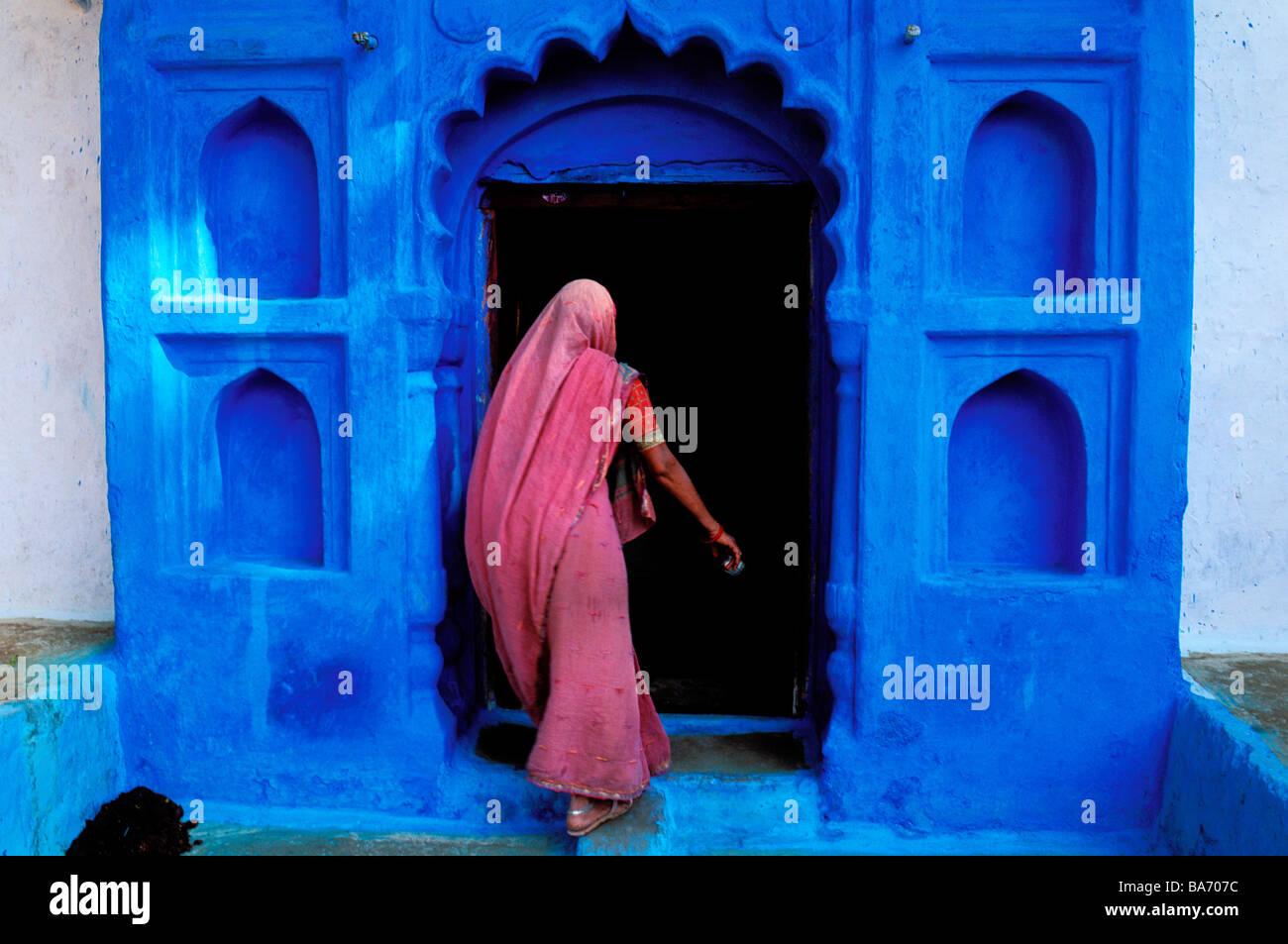 A Índia, em Rajasthan, Jodhpur, a antiga cidade azul Imagens de Stock