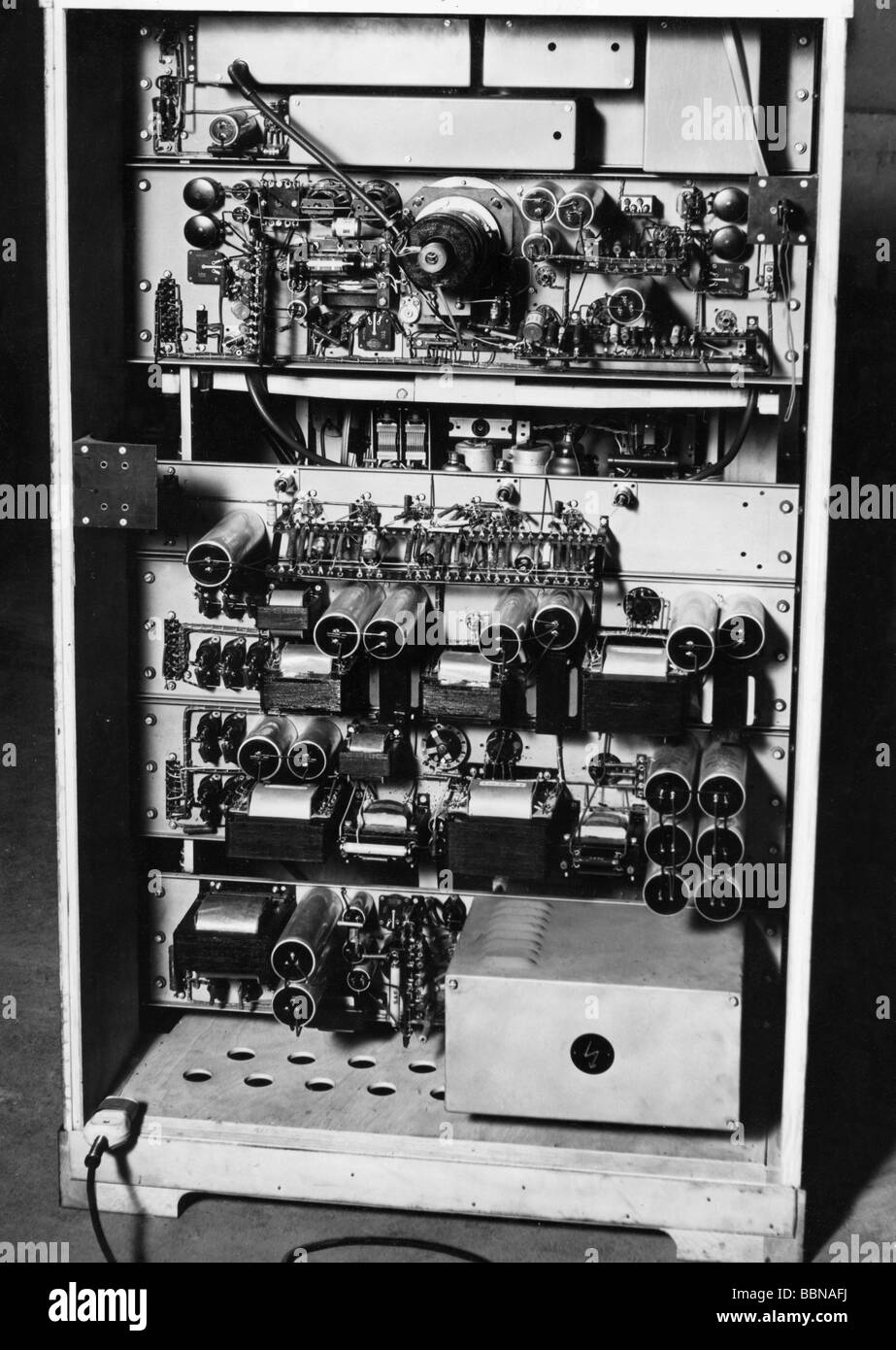 Broadcast, a televisão, a Technics, receptor de TV da Fernseh GmbH, Darmstadt, parte de trás, Nordwestdeutscher Imagens de Stock