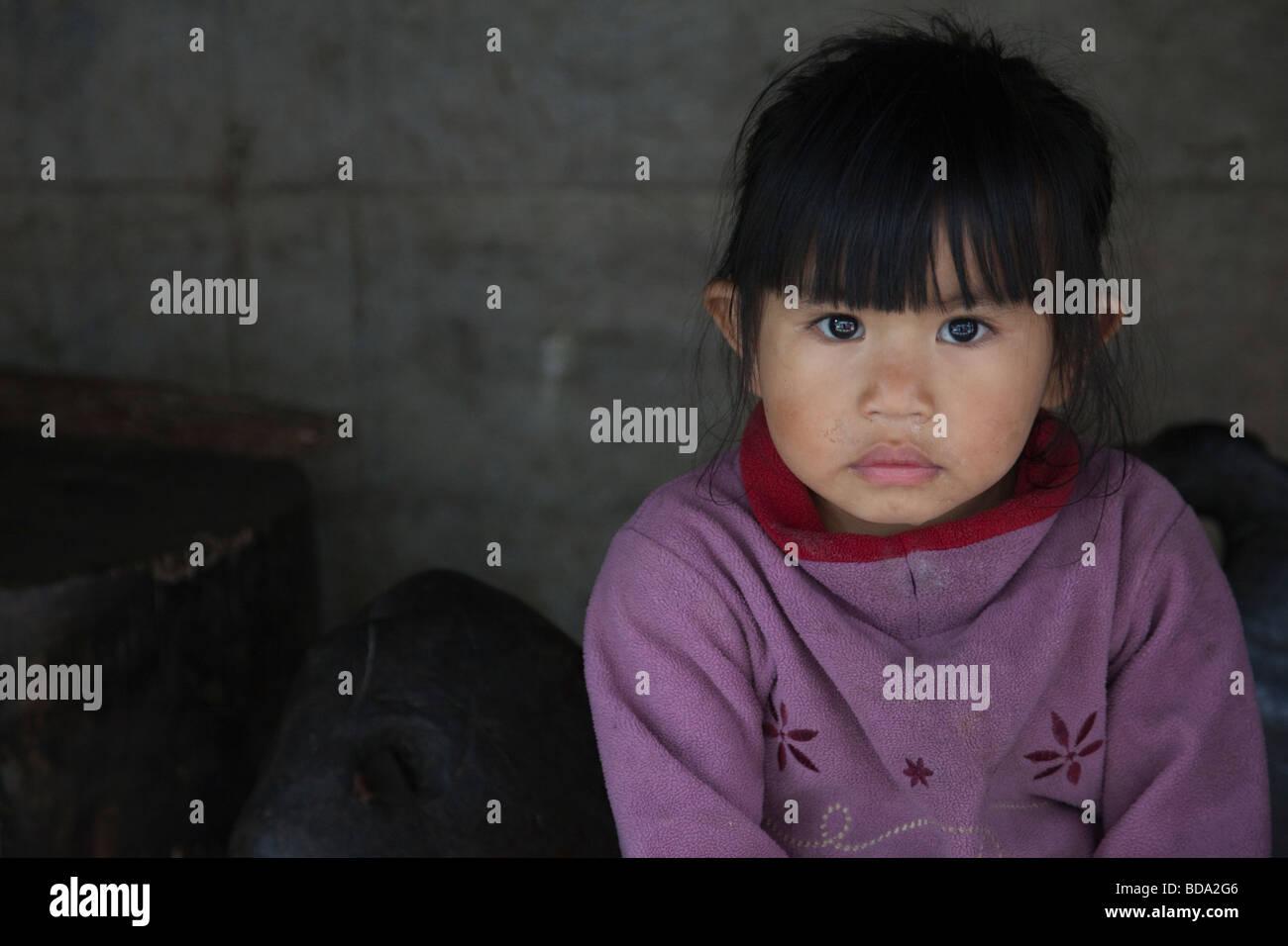 Jovem garota nativa Banaue Ifugao província norte de Luzon Filipinas Imagens de Stock