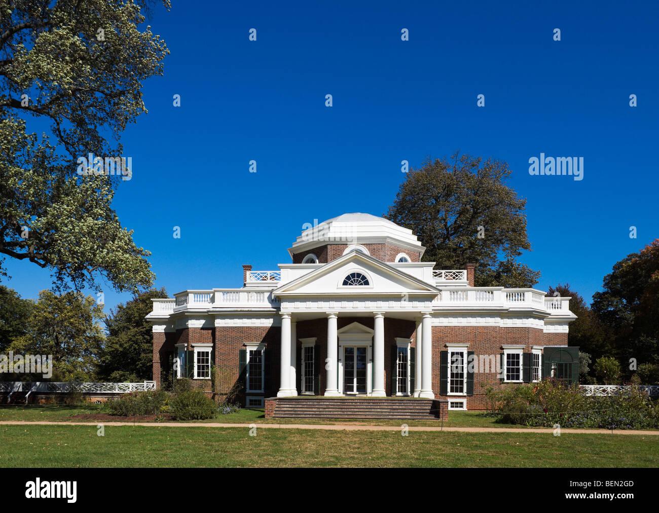 A casa de Thomas Jefferson, Monticello, Charlottesville, Virginia, ESTADOS UNIDOS DA AMÉRICA Imagens de Stock