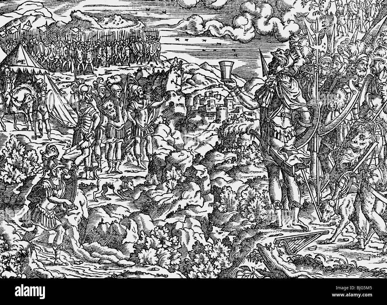 Belas Artes, Amman, Jost (1539-1591), xilogravura, 15,5 cm x 11 cm., ilustração a partir da Bíblia, Imagens de Stock