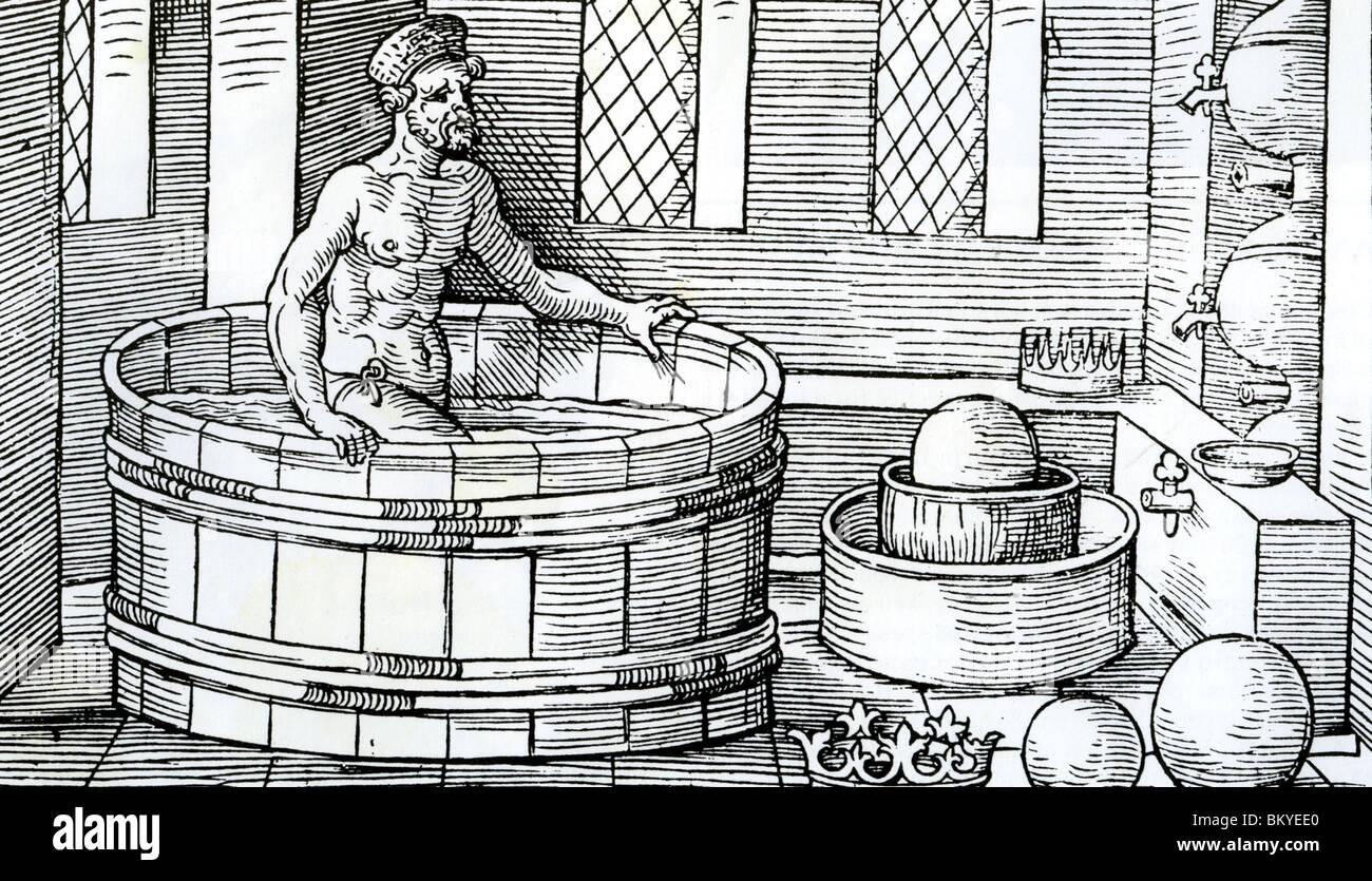 ARCHEMEDES em uma xilogravura Alemã Medieval fazendo sua descoberta sobre volume Imagens de Stock