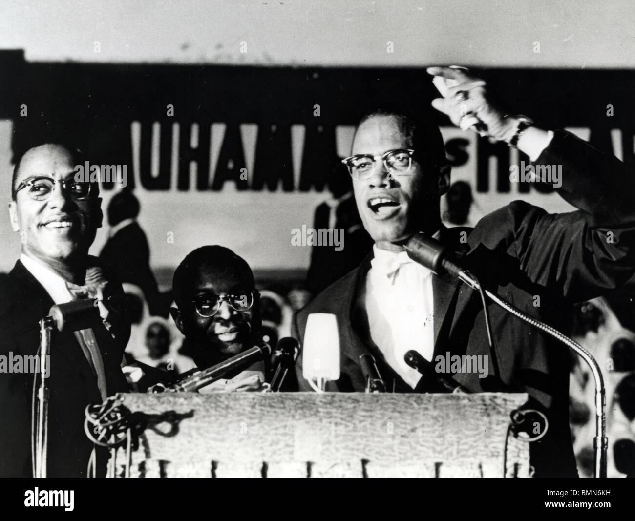 MALCOLM X (1925-1965) ministro afro-americanos e activista dos direitos humanos como chefe dos pretensos Nação Imagens de Stock