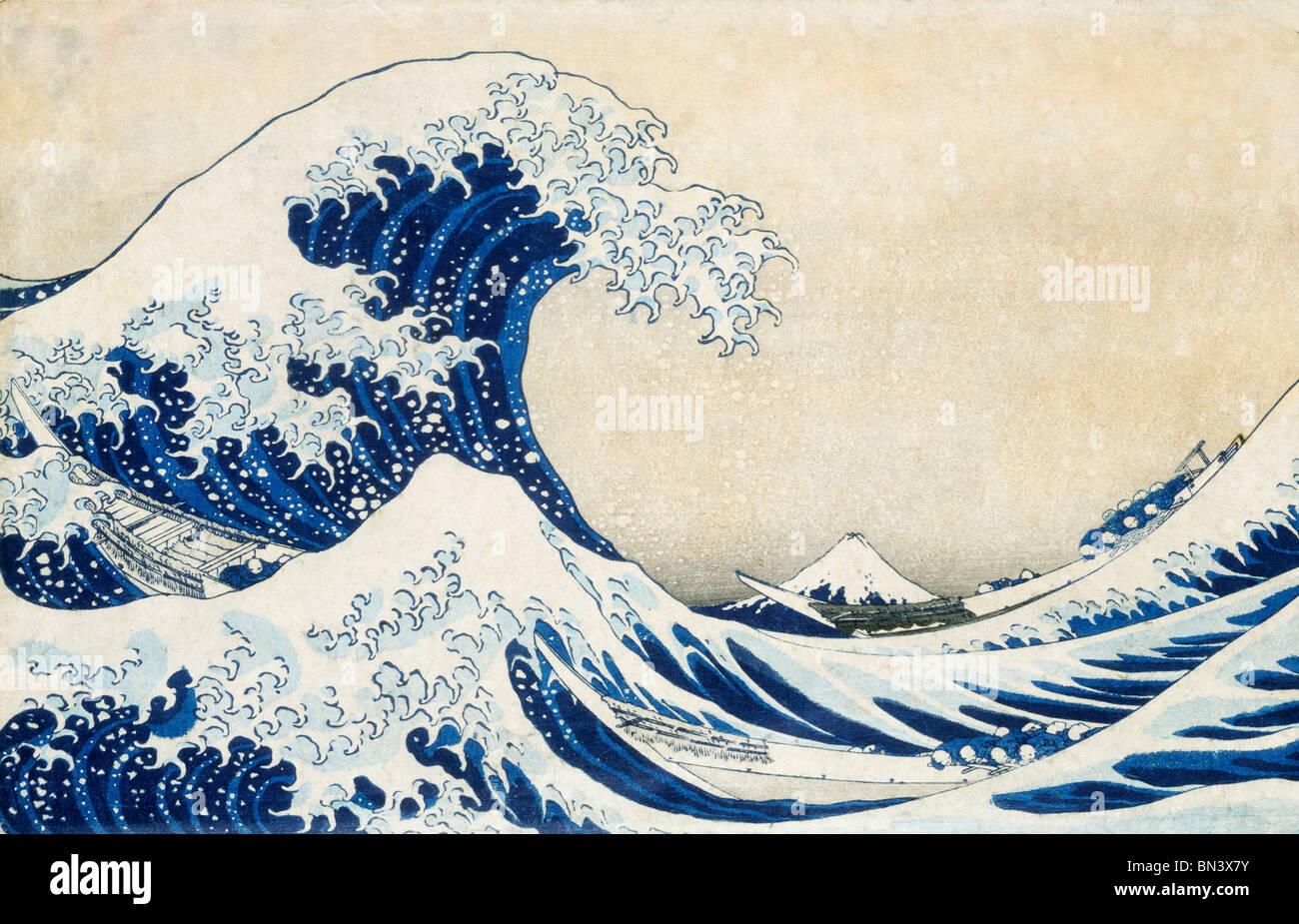 A grande vaga, por Katsushika Hokusai. O Japão do século xix Imagens de Stock