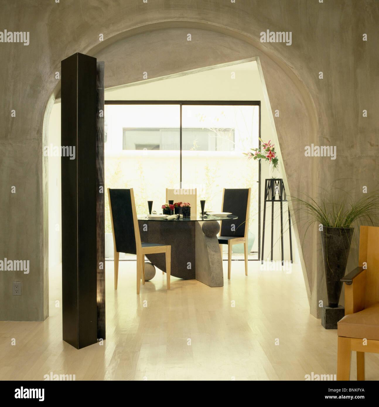 O Reboco De Cimento Com Acabamento Em Estuque De Cava De Moderna  -> Acabamento Sala De Jantar