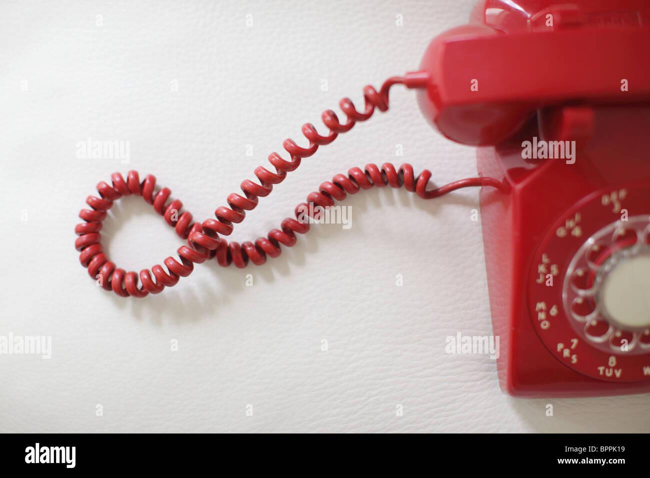 Telefone retro vermelho Imagens de Stock