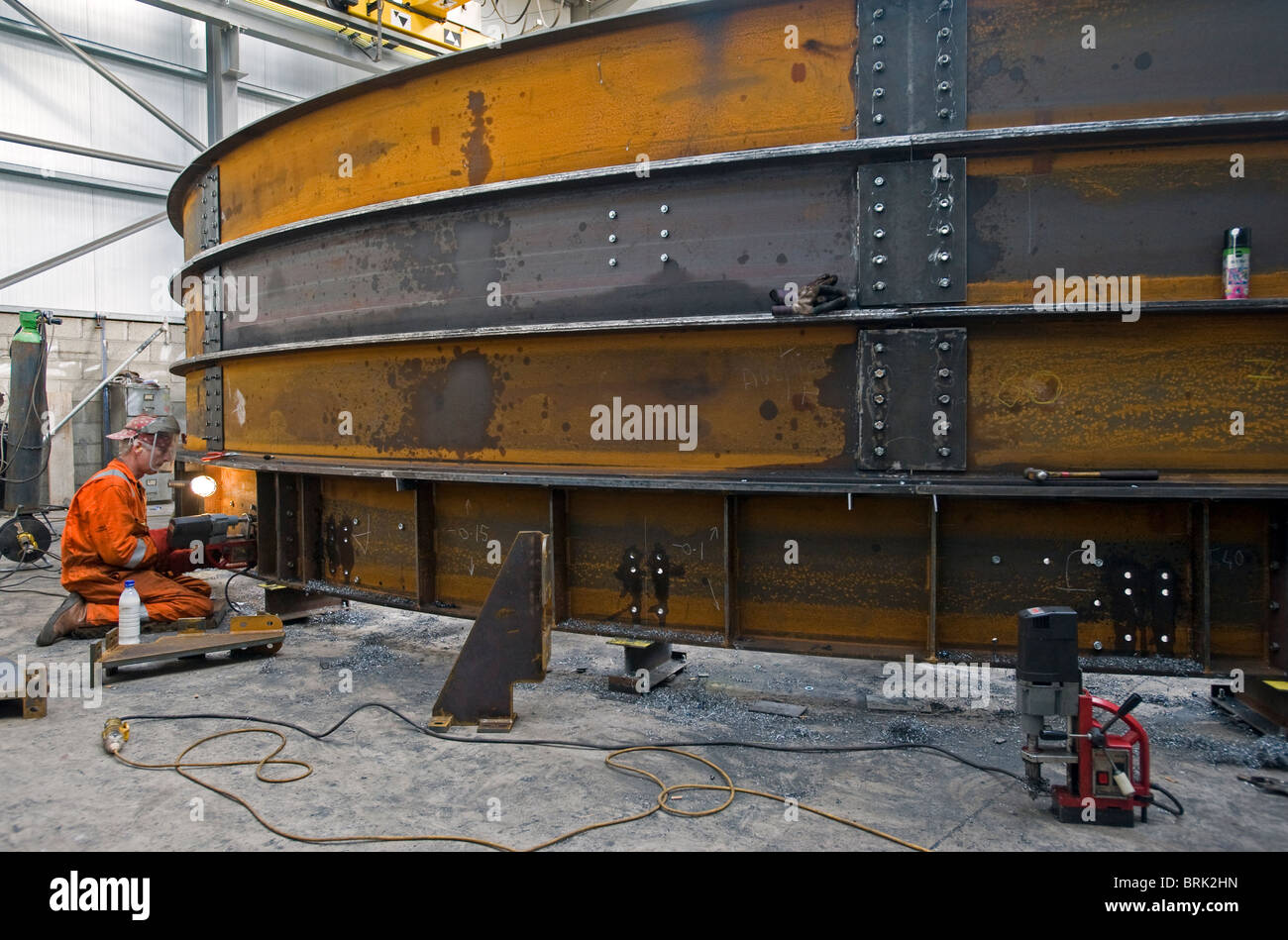Workshop de fabricação de aço, Carrickfergus, da Irlanda do Norte. Imagens de Stock