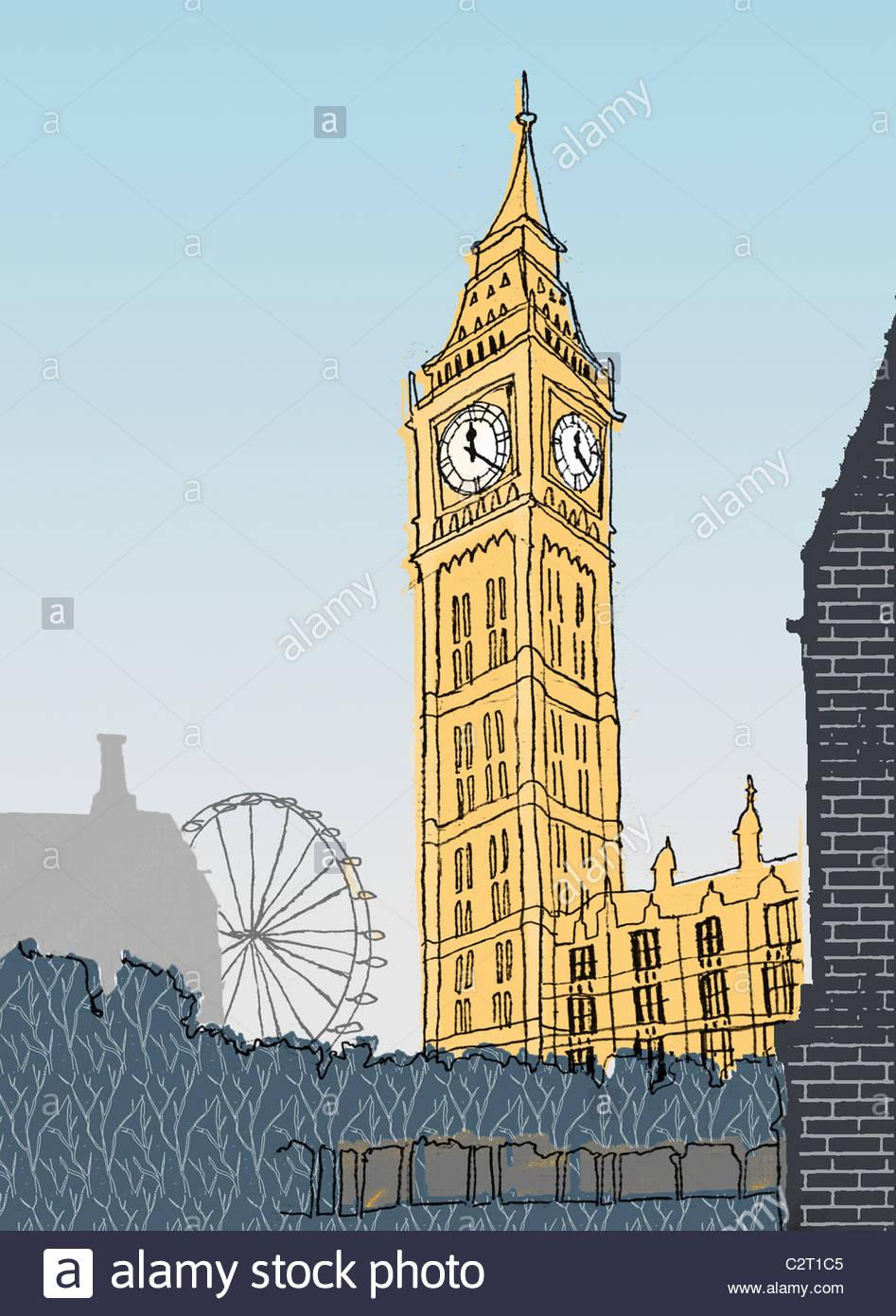 Big Ben e London Eye e das Casas do Parlamento Imagens de Stock