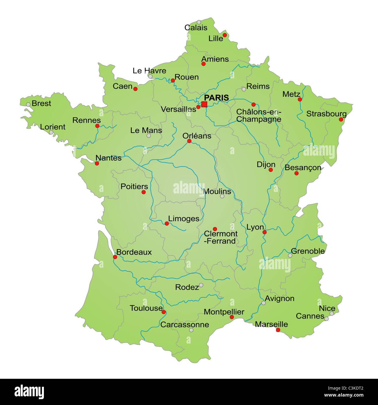 mapa de frança com os rios Mapa estilizado da França mostrando províncias, rios e cidades  mapa de frança com os rios
