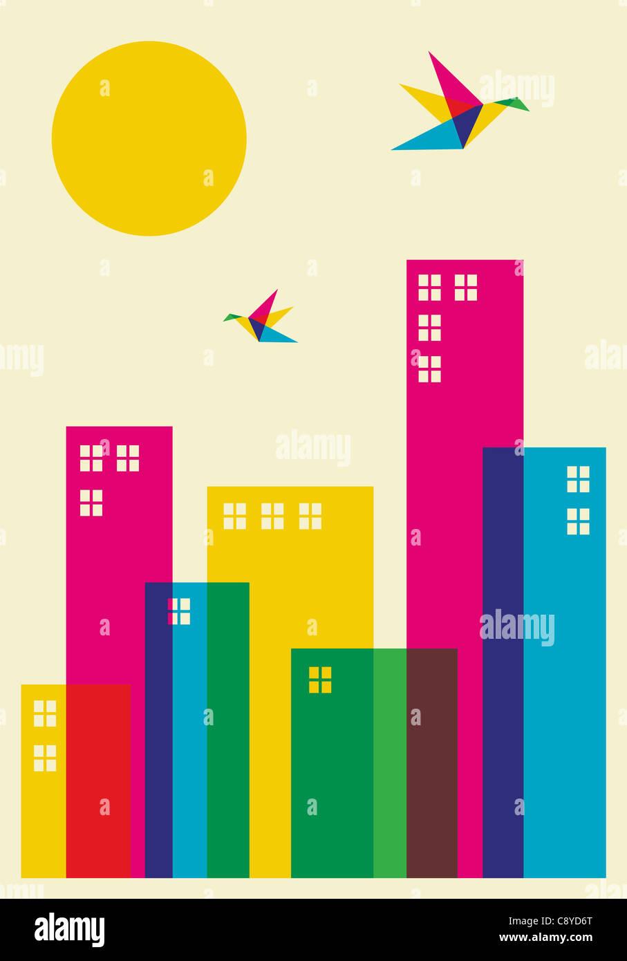 Primavera tempo na cidade. Zumbido grave de cores de pássaros voando sobre a cidade. Arquivo de vetor disponíveis. Imagens de Stock