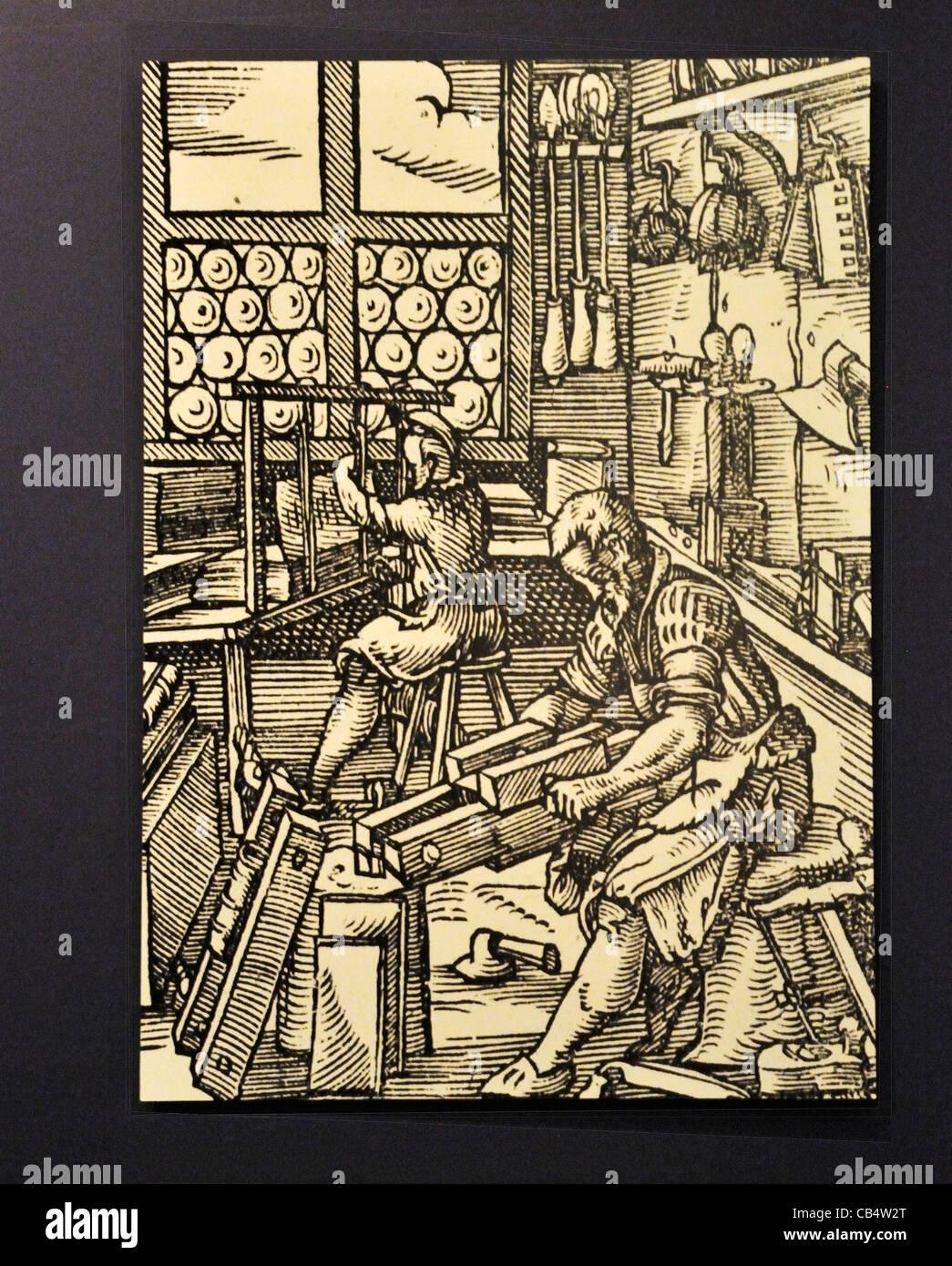 Uma xilogravura em exibição na biblioteca de Huntington, Pasadena, Califórnia Imagens de Stock