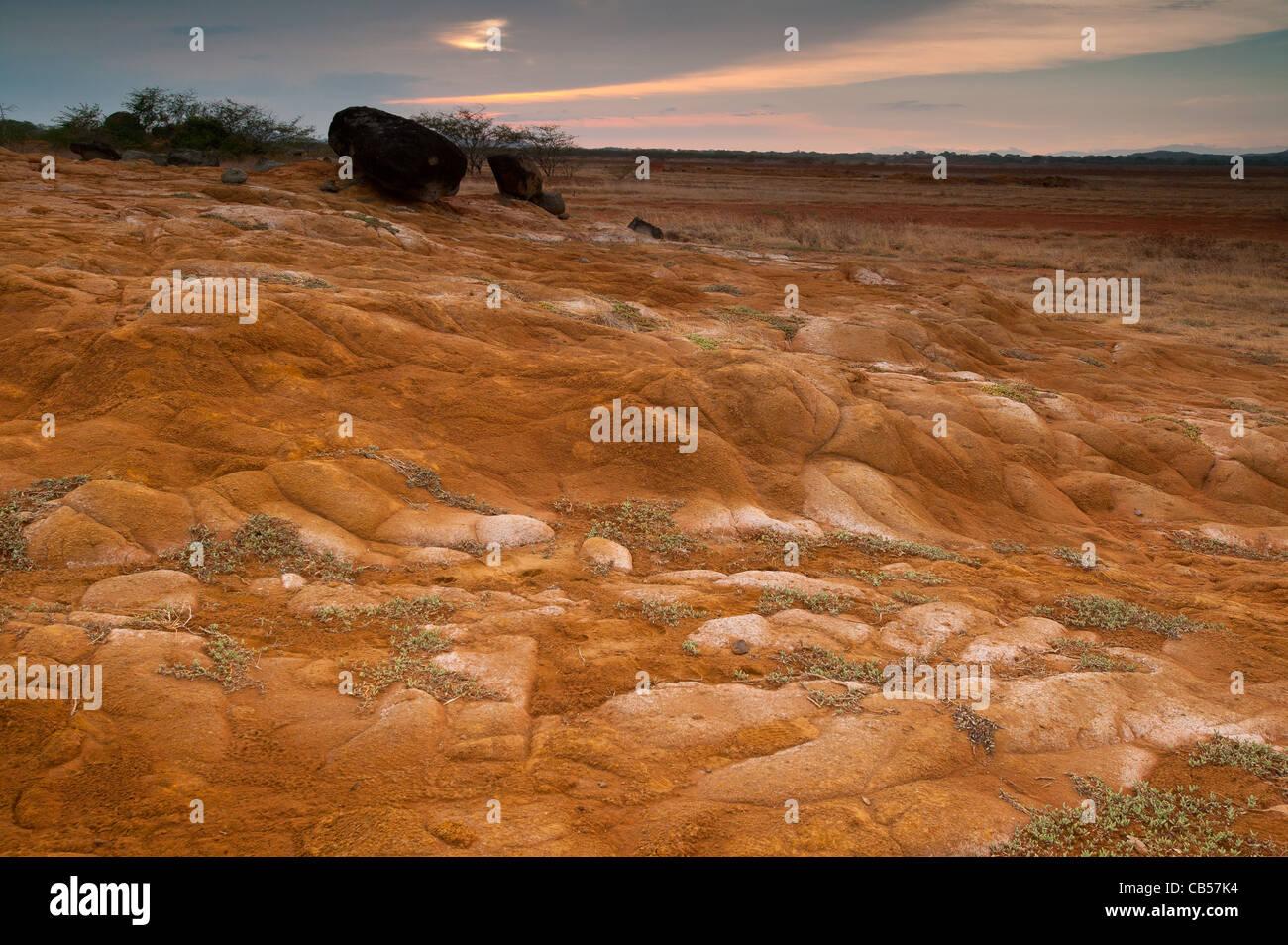 Paisagem do deserto no parque nacional Sarigua, província de Herrera, República do Panamá. Imagens de Stock