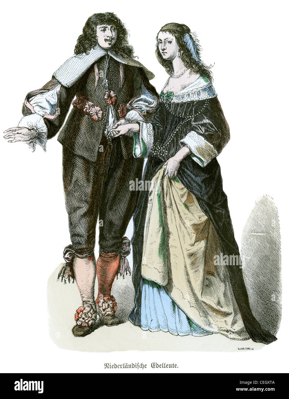 A dutch noble man and woman in the fashion of the 17th