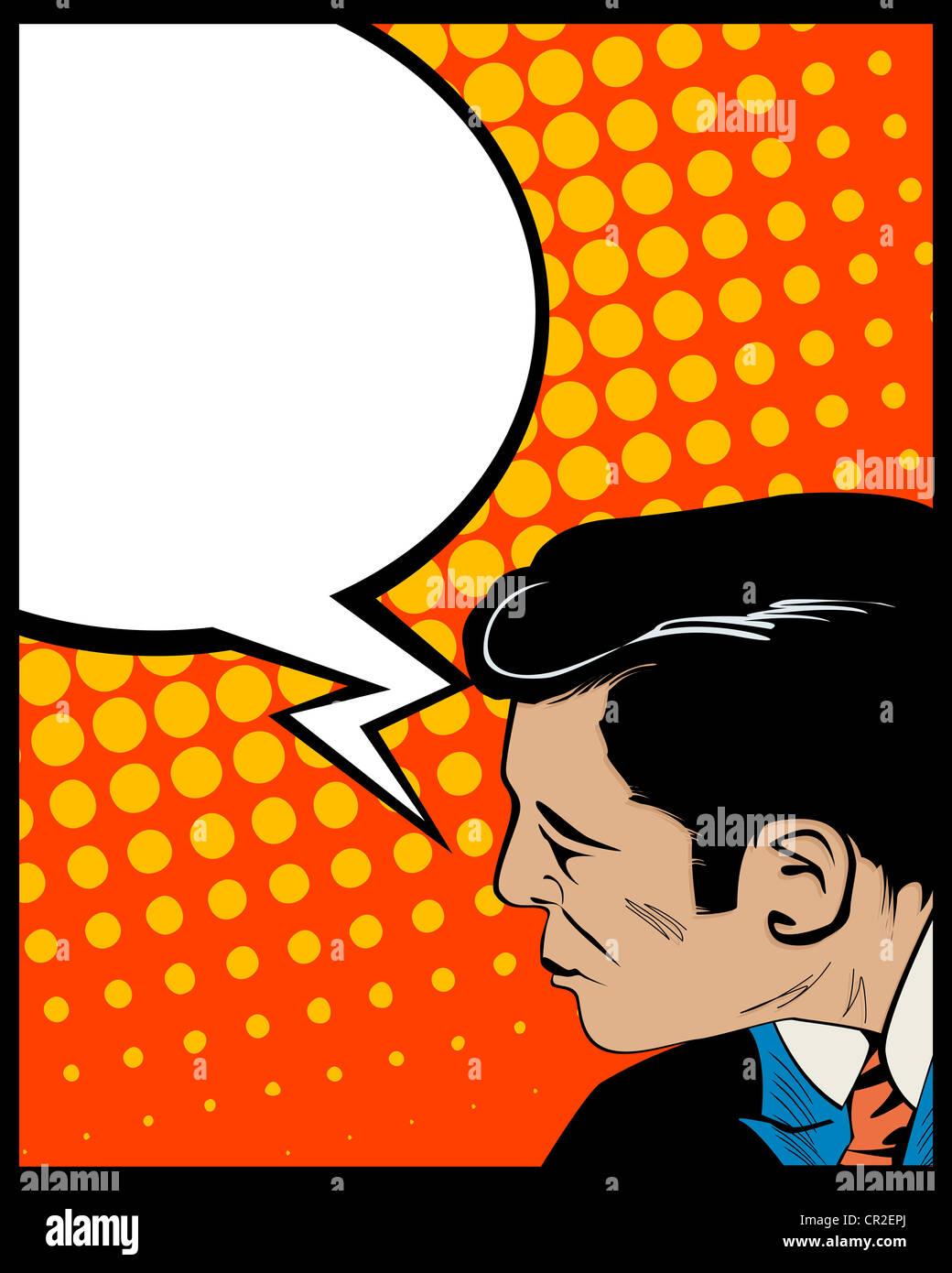 Gráfico em estilo pop art com o homem e o balão de fala Imagens de Stock
