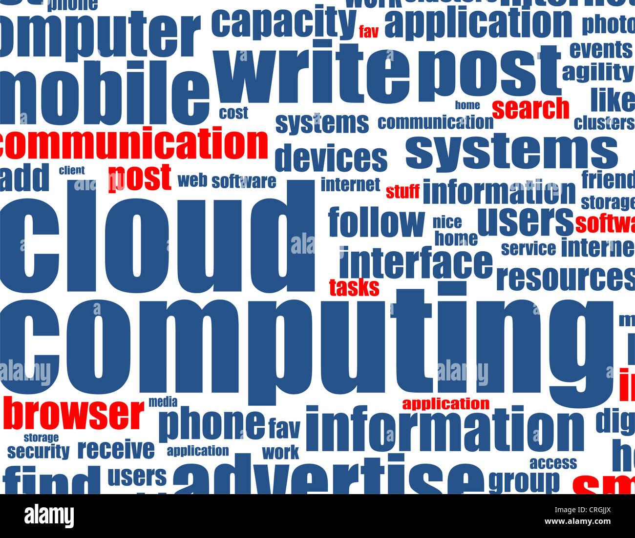 Computação em nuvem - palavra de fundo Imagens de Stock