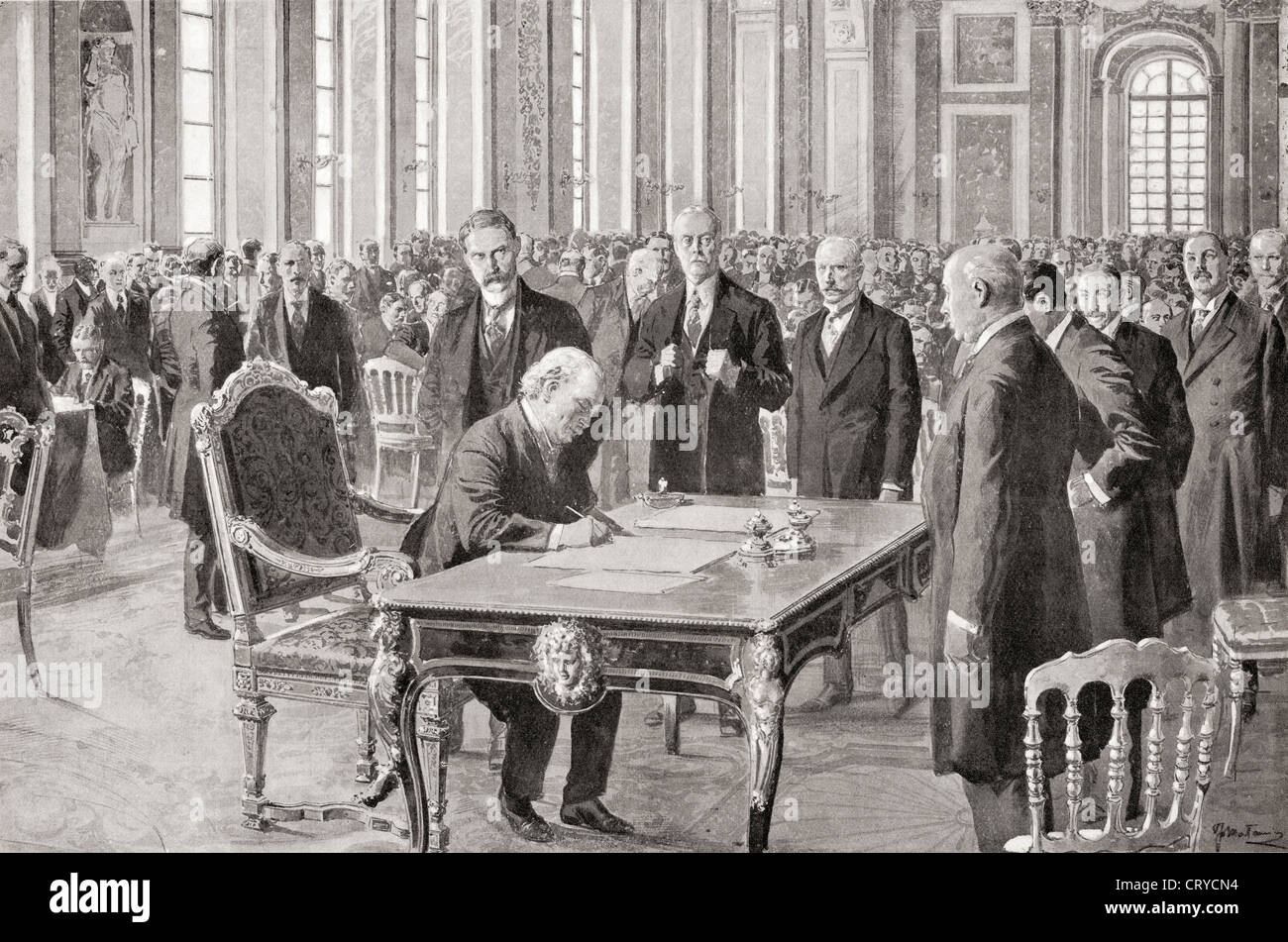 O senhor Lloyd George assina o tratado de paz com a Alemanha, 28 de Junho de 1919, na Sala de Espelhos, Palácio Imagens de Stock