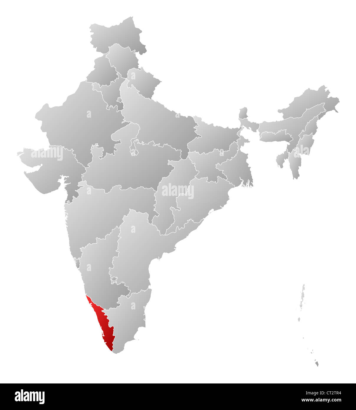 Political map of India with the several states where Kerala is Stock on world map india agra, world map iran tehran, world map pakistan lahore,