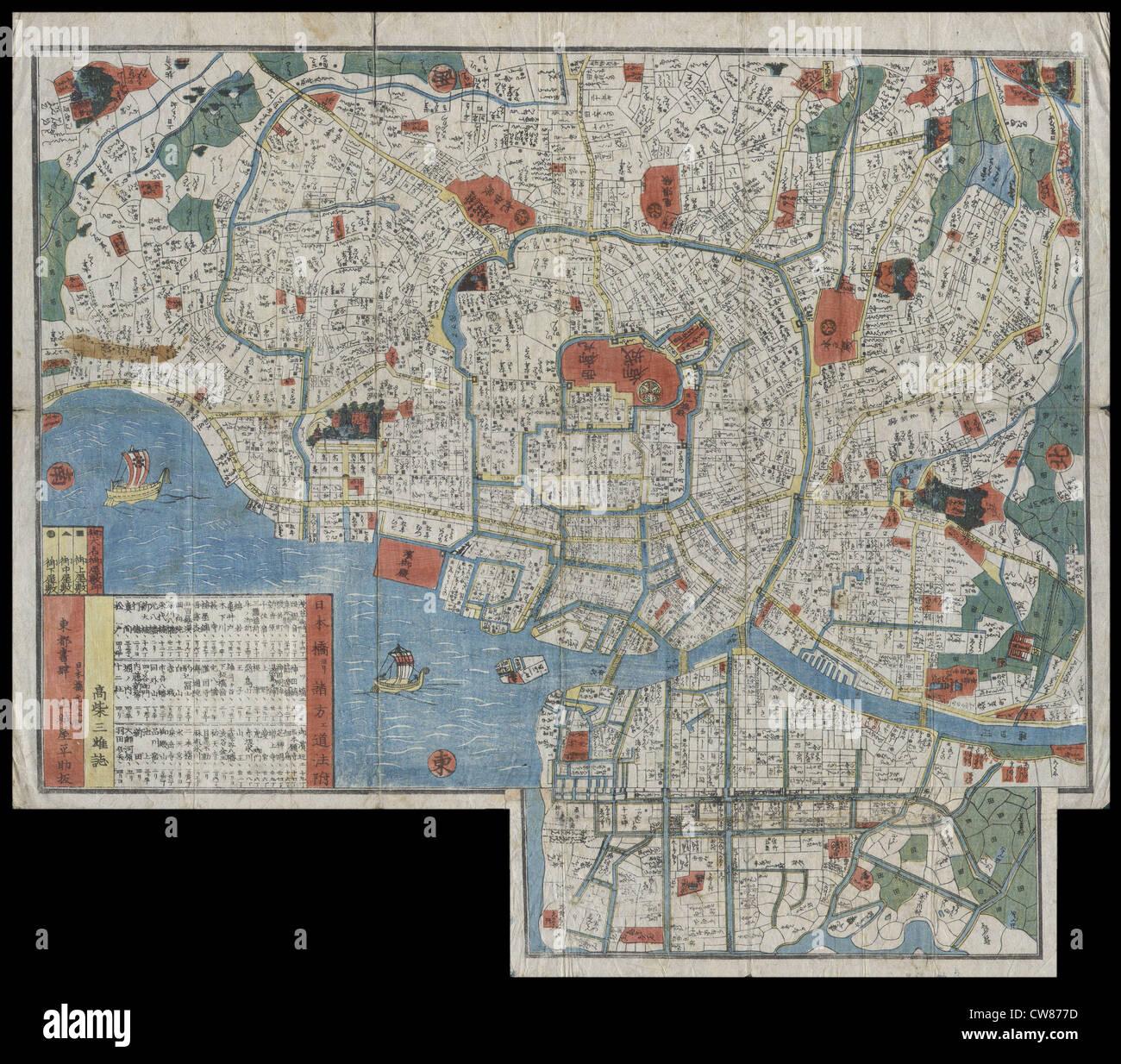 1850 Período Edo Xilogravura Mapa de Edo ou Tóquio, Japão Imagens de Stock