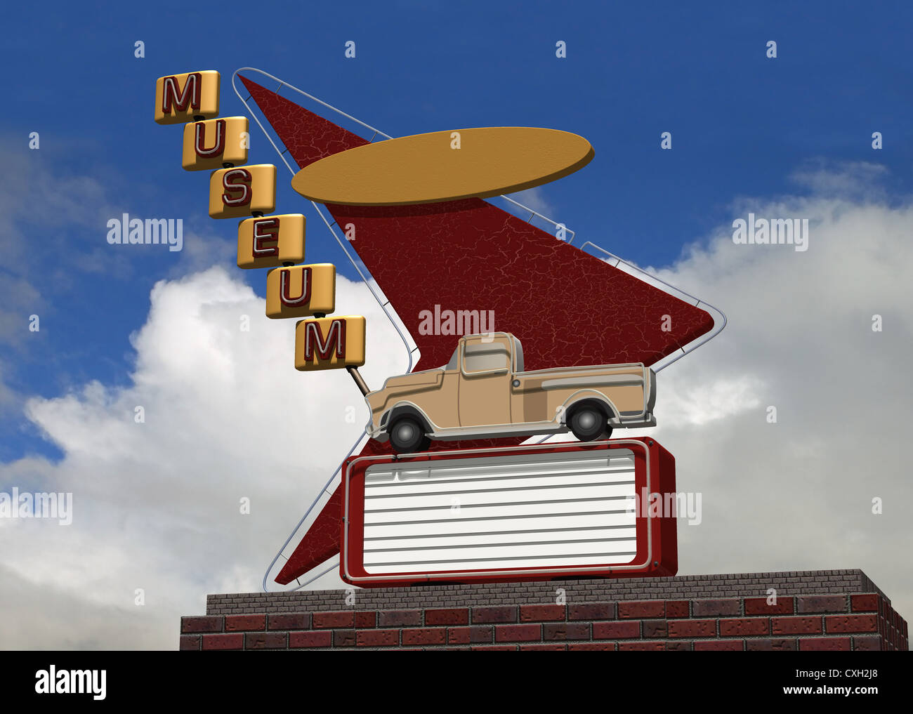 Sinal de néon com arte e retângulo em branco retro para personalização Imagens de Stock