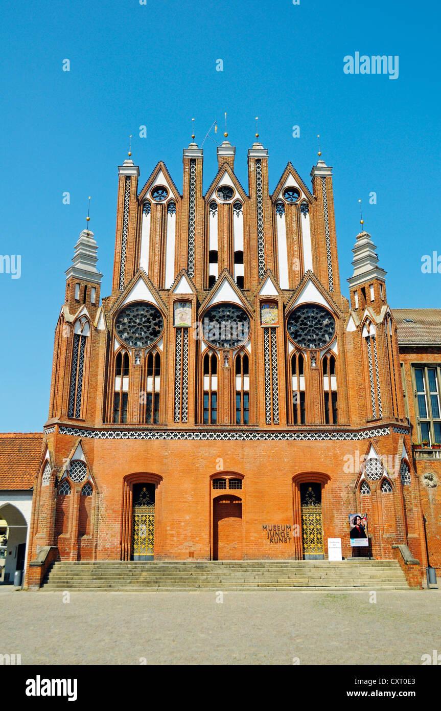 Town Hall e o Museu Junge Kunst, Museu de Arte Jovem, Frankfurt an der Oder, Brandeburgo, Alemanha, Europa Imagens de Stock