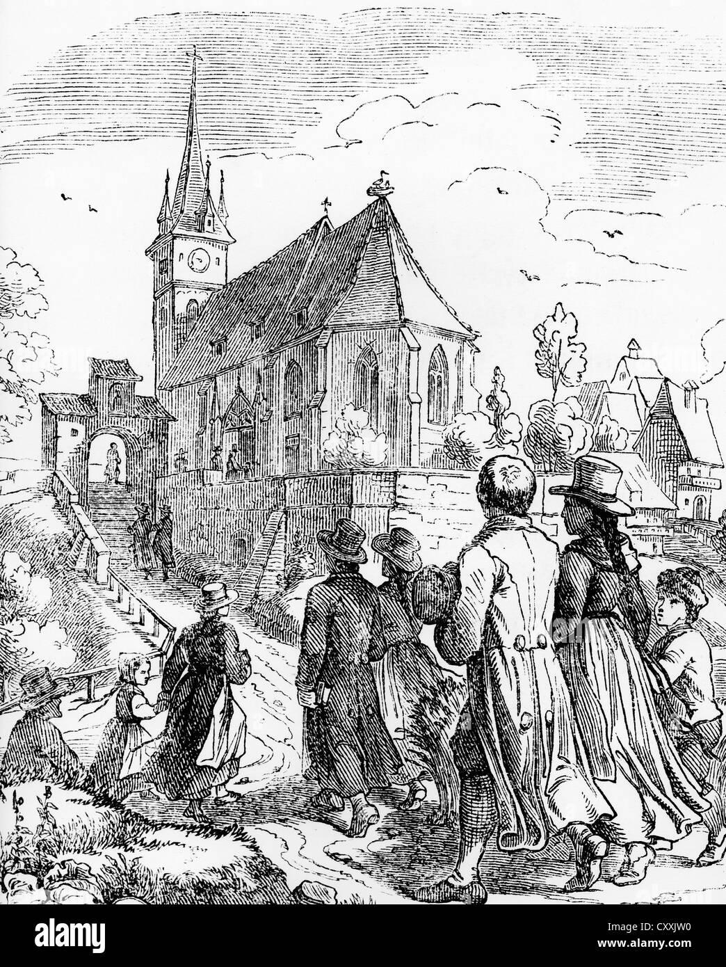 A Igreja vai em um domingo, xilogravura, c. 1900 Imagens de Stock