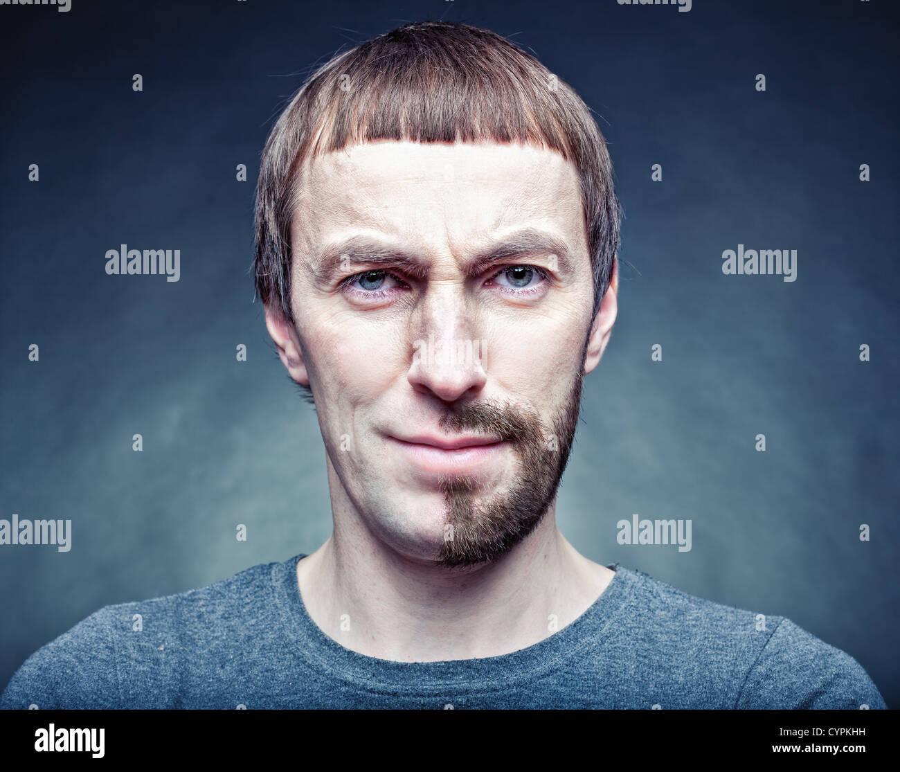 Fase de barbear o rosto metade. foto conceito Imagens de Stock