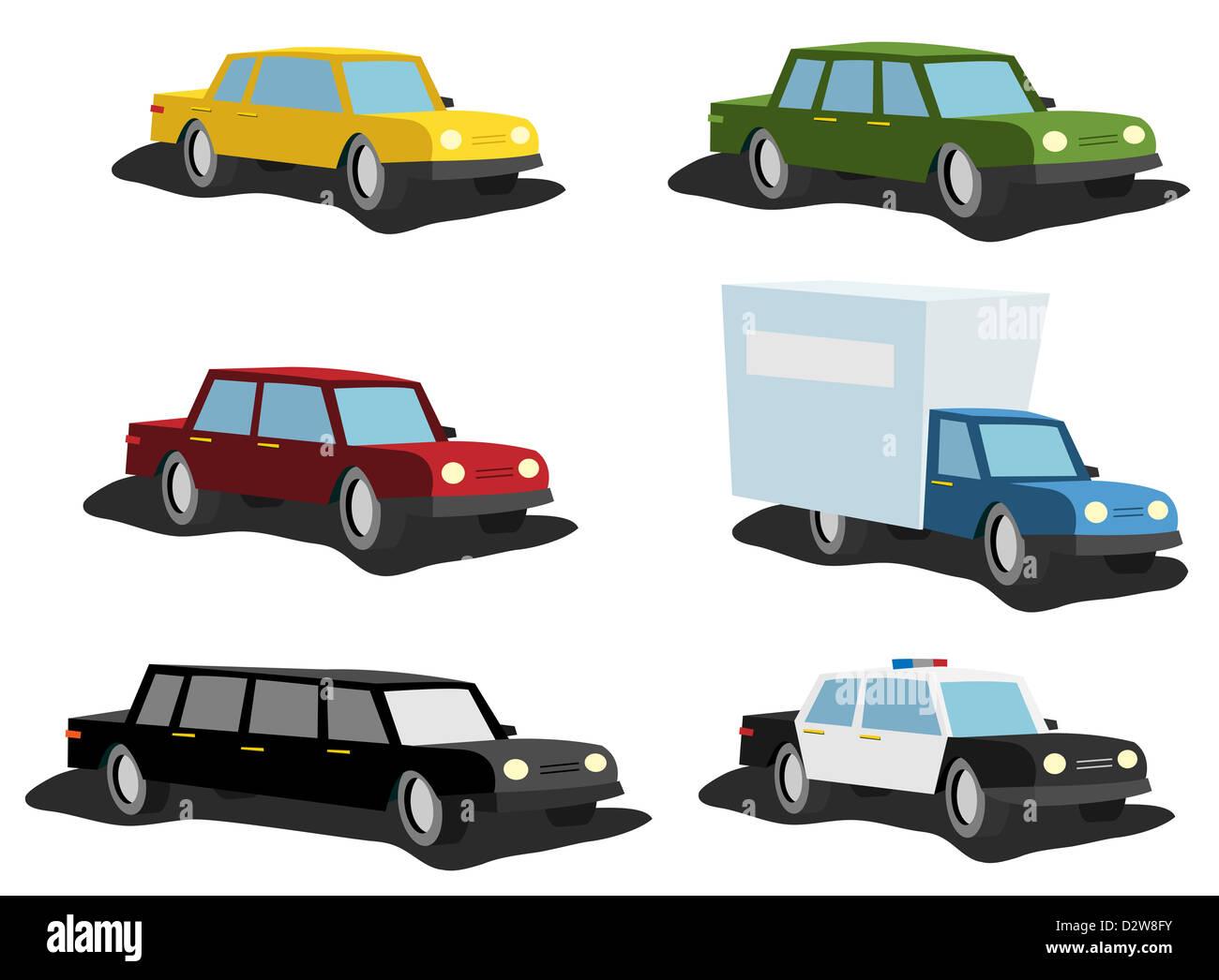 ilustração conjunto de desenhos animados de carros a partir de