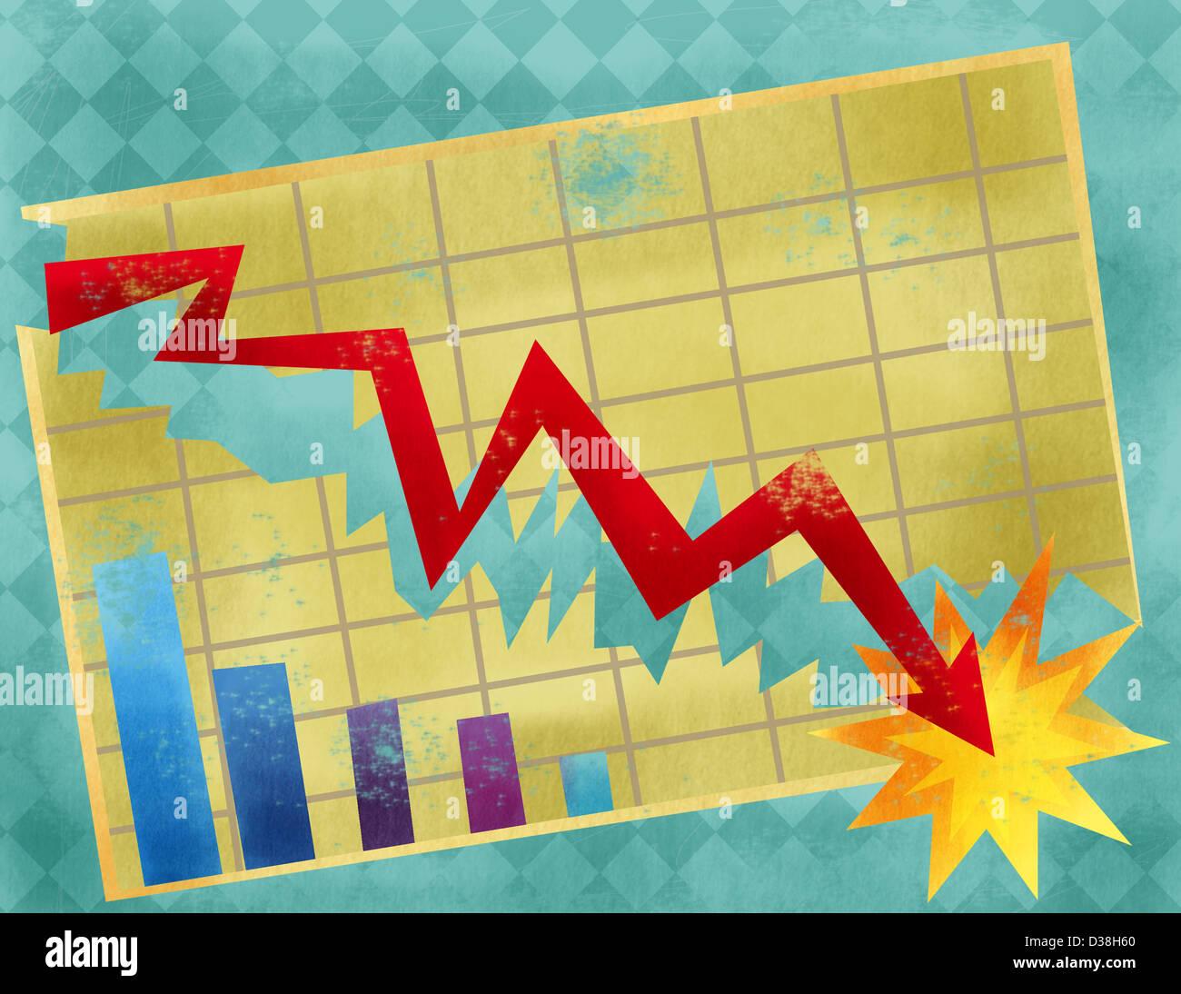 Gráfico de linhas que mostra a economia crash Imagens de Stock