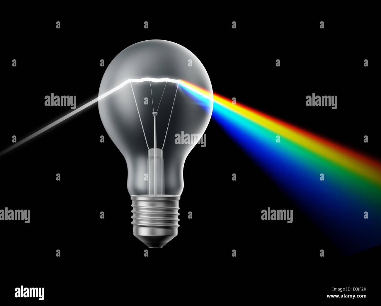 Criatividade e inovação conceito - lâmpada agindo como um prisma Imagens de Stock