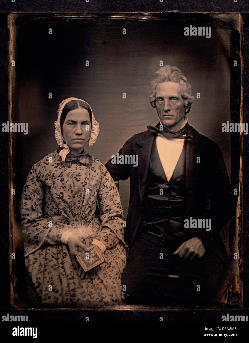 Casal Retrato, Daguerreótipo, Circa 1850 Imagens de Stock