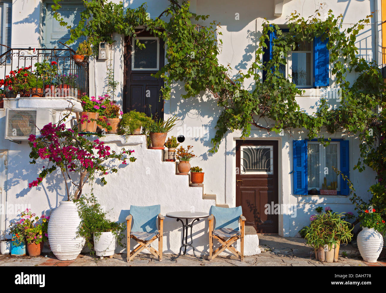 Casa tradicional grega em Parga cidade na Grécia Imagens de Stock