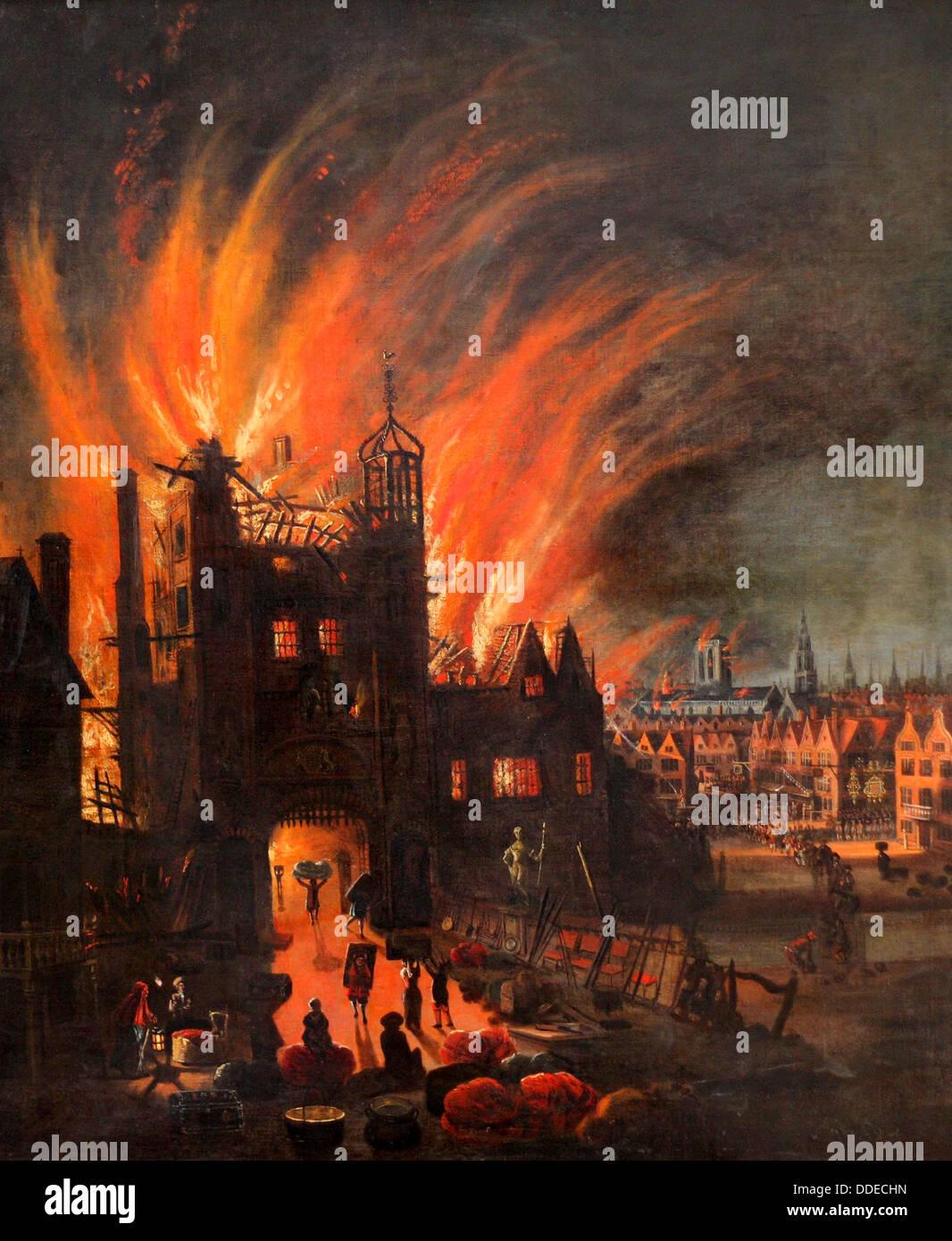 O Grande Incêndio de Londres, 2-5 de Setembro de 1666 Imagens de Stock