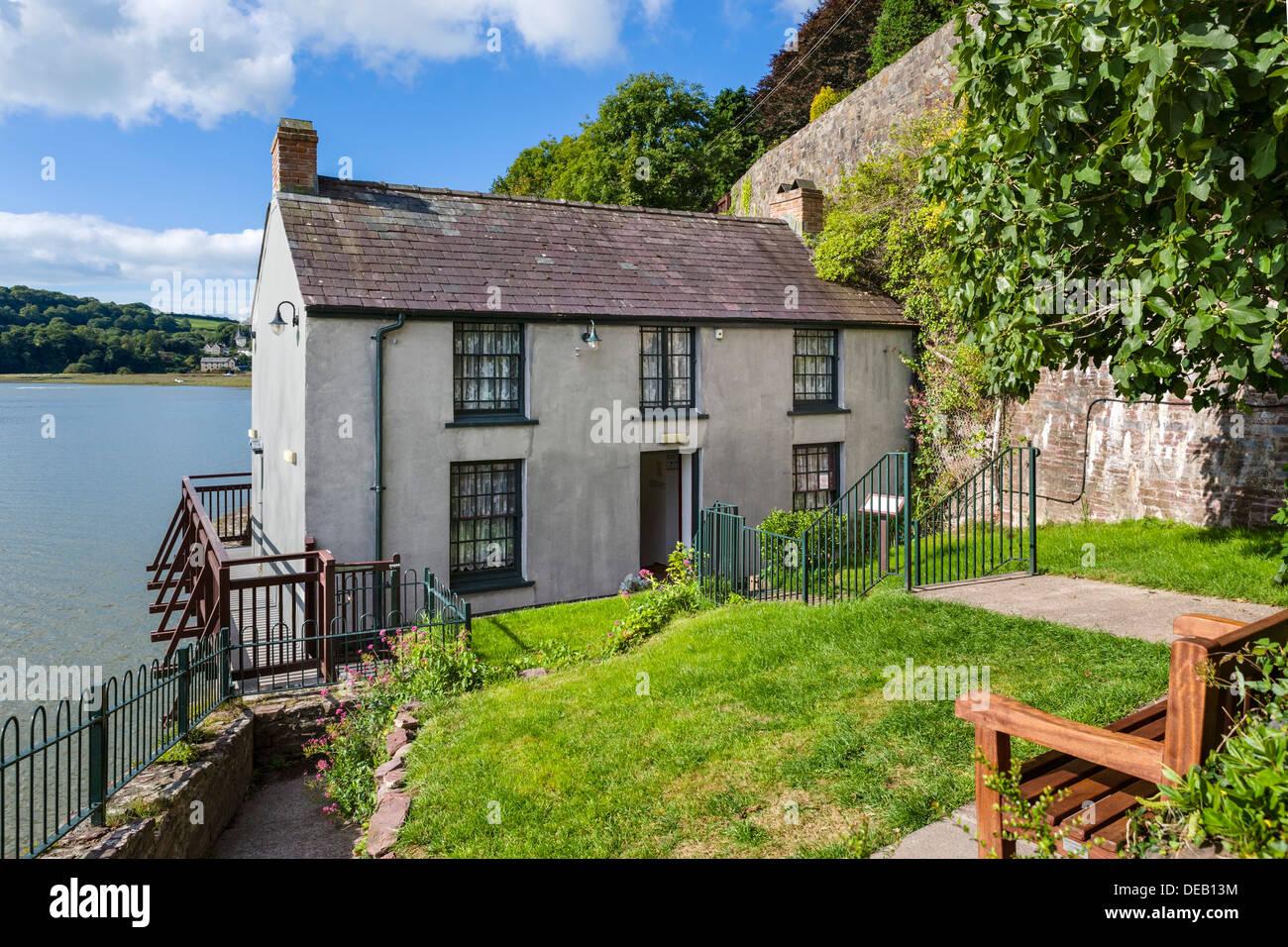 The Boathouse, o poeta do Dylan Thomas antiga casa em Laugharne, Carmarthenshire, País de Gales, Reino Unido Imagens de Stock