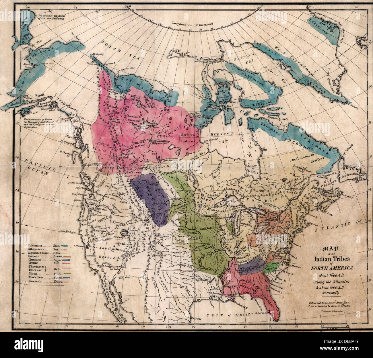 Map Of America In 1800.Map Of The Indian Tribes Of North America About 1600 A D Along The