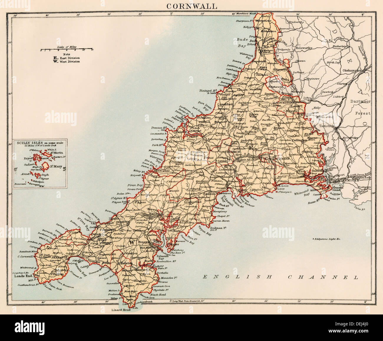 Map Of England Cornwall.Map Of Cornwall England 1870s Color Lithograph Stock Photo