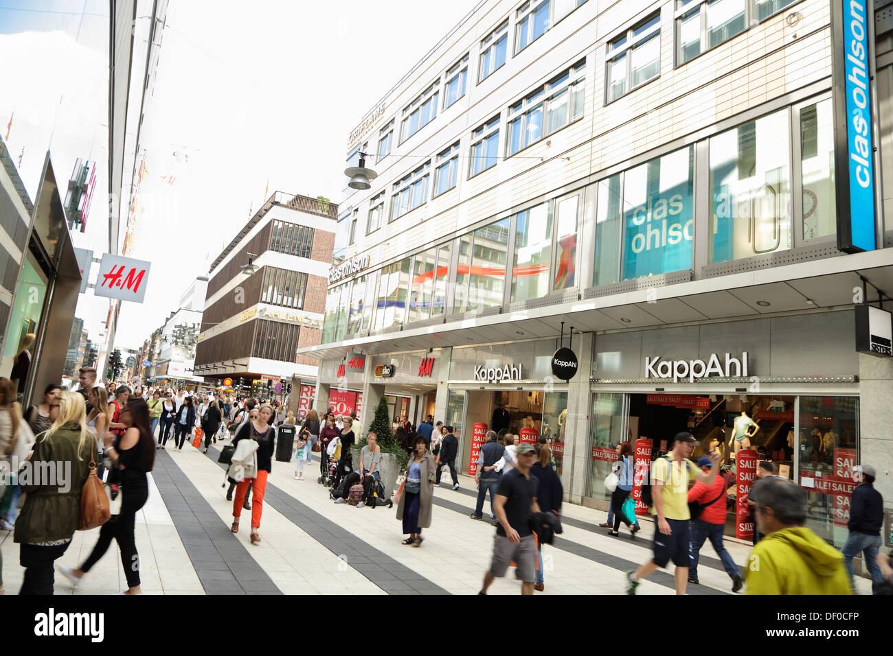 Pedestrians On The Busy Shopping Street Drottninggatan