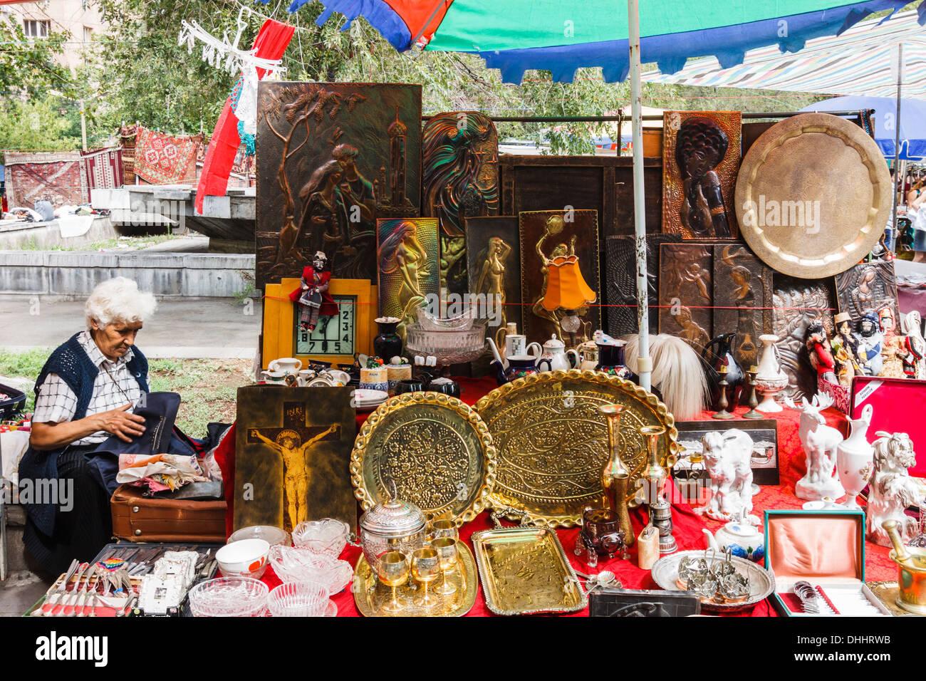 Vernissage mercado. Yerevan Arménia Imagens de Stock