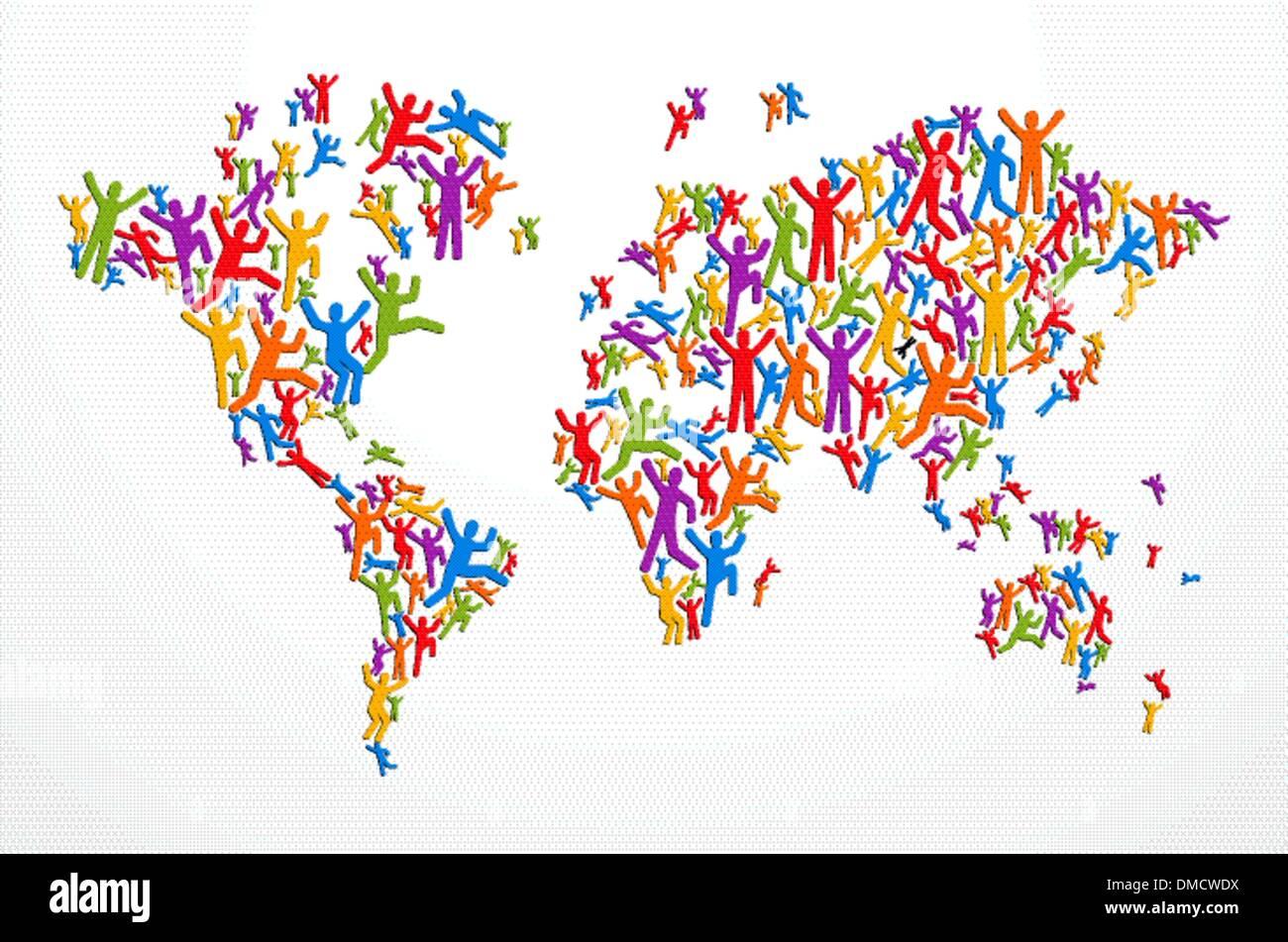 Diverstiy pessoas conceito mapa do mundo Imagens de Stock