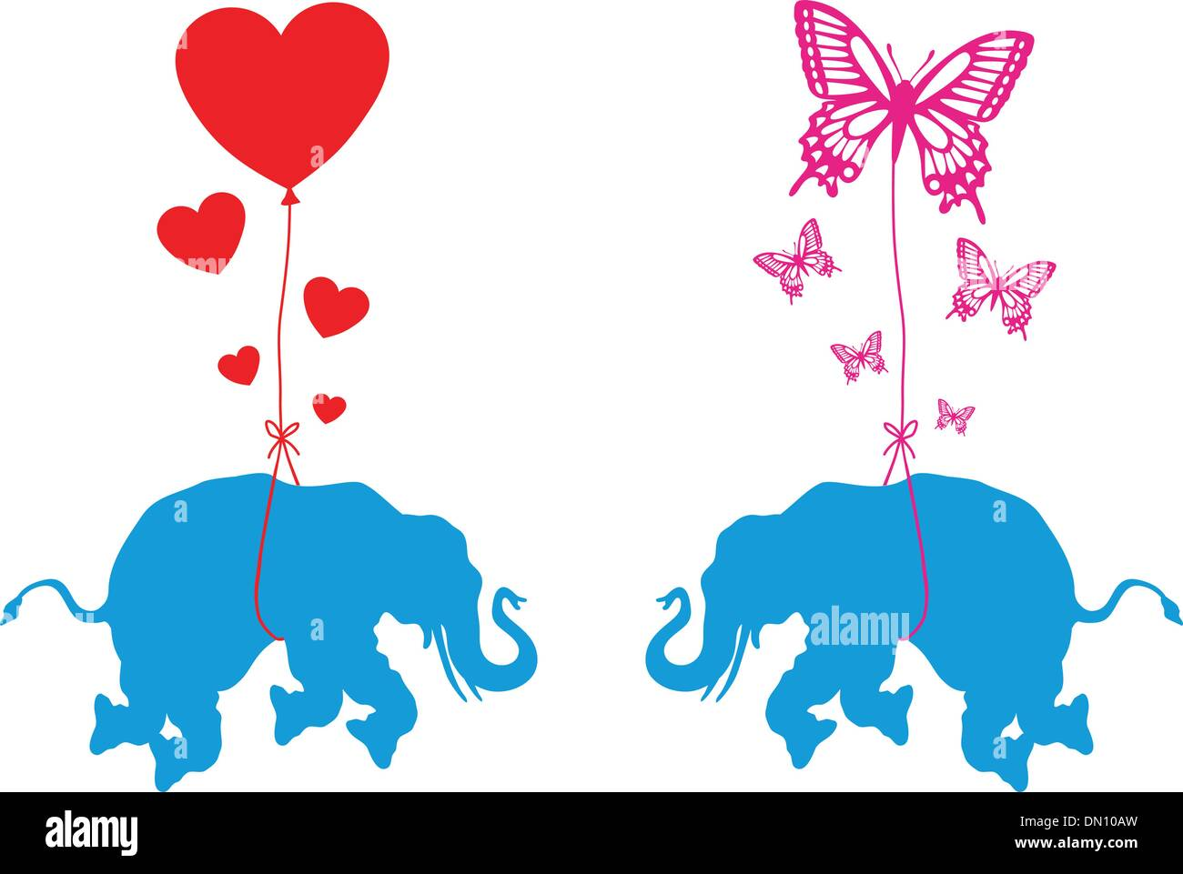 Elefante Com Cora Es E Borboletas Vetor Ilustra O Do Vetor  -> Borboleta Vetor