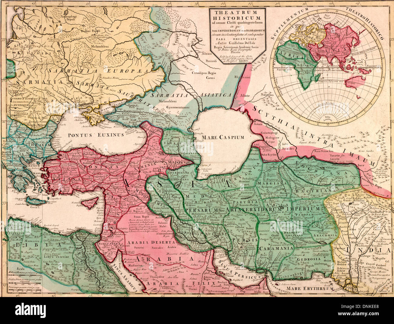 Map Of Asia 1900.European Asia Map Circa 1900 Theatre Of Four Hundred Years Of Stock